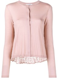 Valentino Top With Pleated Heavy Lace Back Pink And Purple