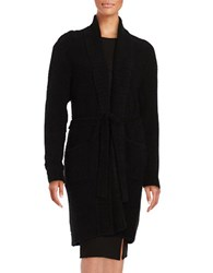 Lord And Taylor Wool Blend Belted Long Cardigan Black
