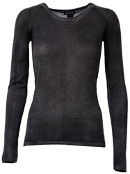 Avant Toi Boat Neck Semi Sheer Slim Fit Jumper Black