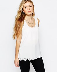 Only Scallop Edge Sleeveless Top White