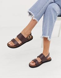 Warehouse Two Strap Sandals In Brown