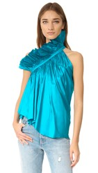 Marques Almeida One Shoulder Frill Top Turquoise