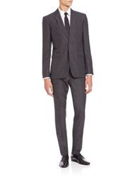 Burberry Solid Two Button Wool Suit Grey