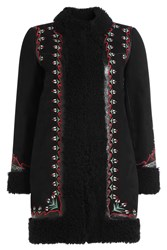 Vilshenko Embroidered Leather And Shearling Coat Black