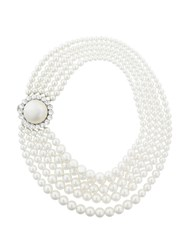 Miu Miu Embellished Layered Necklace Pearls Brass Glass White