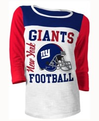 5Th And Ocean Women's New York Giants Three Quarter Glitter T Shirt Red