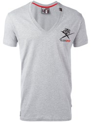 Plein Sport V Neck T Shirt Grey