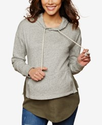 Motherhood Maternity French Terry Hoodie Grey White