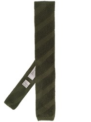 Canali Striped Knitted Scarf Green