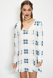 Forever 21 Evil Twin Abstract Plaid Dress Blue Multi