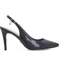 Dune Cathy Reptile Effect Slingback Courts Navy Reptile Synthetic