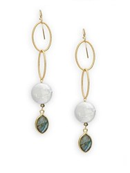 Alanna Bess White Coin Freshwater Pearl And Labradorite Drop Earrings Gold