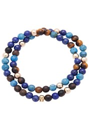 Nialaya 14Kt Gold Multi Stone Beaded Wrap Bracelet Blue