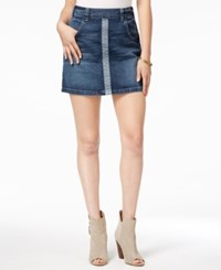 Guess Two Tone Denim Mini Skirt Medium Wash