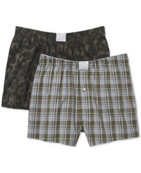 Michael Kors Men's Airsoft Touch Stretch Woven Boxers 2 Pack Fatigue Camo Plaid