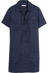 Equipment Knox Linen Mini Dress Navy