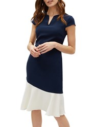 Jaeger Curved Colour Block Dress Navy