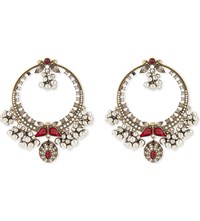 Alexander Mcqueen Creole Swarovski Hoop Earrings Gold