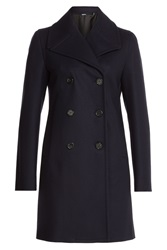 Jil Sander Navy Double Breasted Evening Coat Blue