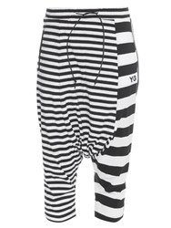 Y 3 Striped Dropped Crotch Cotton Trousers Black White