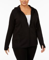 Ideology Plus Size Thumbhole Hoodie Created For Macy's Noir