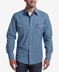 Wrangler Men's Authentic Western Style Long Sleeve Shirt Chambray