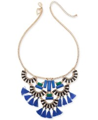 Thalia Sodi Gold Tone Crystal Stone And Tassel Statement Necklace 18 3 Extender Blk Blue