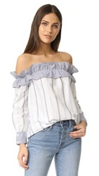 English Factory Stripe Long Sleeve Off Shoulder Top Blue Combo