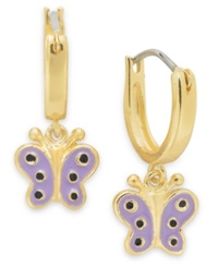 Lily Nily Children's 18K Gold Over Sterling Silver Earrings Purple Enamel Butterfly Drop Hoop Earrings