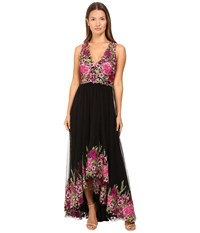 Marchesa High Low Tulle Gown With Floral Embroidery Magenta