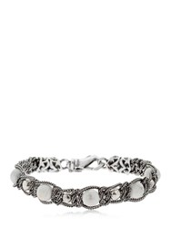 Emanuele Bicocchi Braided Bracelet With Marble Beads Silver White