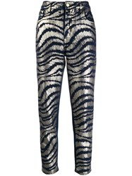 Just Cavalli Printed Cropped Jeans Blue