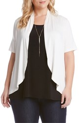 Karen Kane Plus Size Women's 'Sophie' Short Sleeve Open Front Jersey Cardigan White