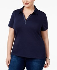 Karen Scott Plus Size Cotton Studded Polo Top Only At Macy's Intrepid Blue