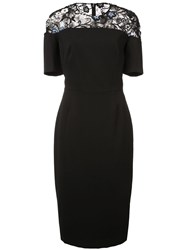 Lela Rose 3D Embroidered Sheath Dress Black
