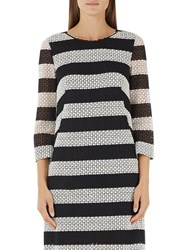 Marc Cain Cotton Lace Stripe Dress Black White