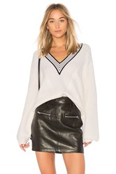 Carven V Neck Cable Knit Sweater Ivory