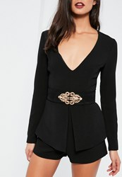 Missguided Black Ornate Faux Suede Waist Belt