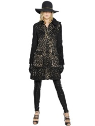 Lanvin Cheetah Effect Wool And Techno Blend Coat