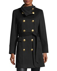 Sofia Cashmere Double Breasted Golden Button Military Wool Coat Black