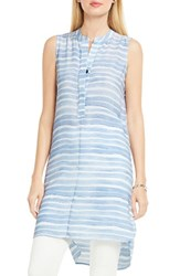 Vince Camuto Women's Stripe Henley Tunic Stormy Blue