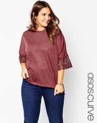Asos Curve Tunic With Lace Sleeve In Linen Look Fabric Winterberry