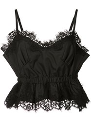 Sacai Cropped Lace Camisole Women Cotton Polyester 4 Black