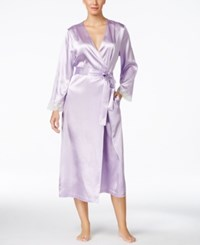 Morgan Taylor Lace Trim Long Satin Robe Only At Macy's Hydrangea Petal