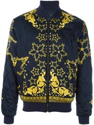 Versace Collection Baroque Star Bomber Jacket Blue
