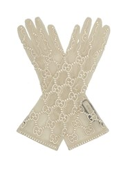 Gucci Gg Embroidered Lace Gloves White