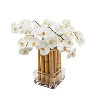 Sia White Phalaenopsis Orchid With Bamboo Large