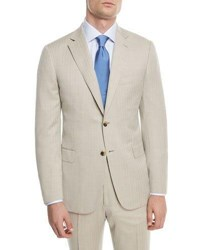 Brioni 150S Wool Herringbone Super Two Piece Suit Taupe