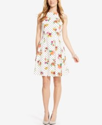 American Living Floral Print And Polka Dot Sateen Dress White Floral
