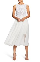 Dress The Population Cathy Sequin Tea Length White
